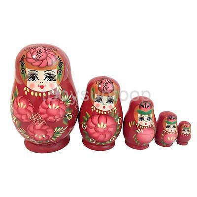 Wooden Russian Hand Painted Stacking Doll Red Matryoshka Nesting Dolls 5pcs