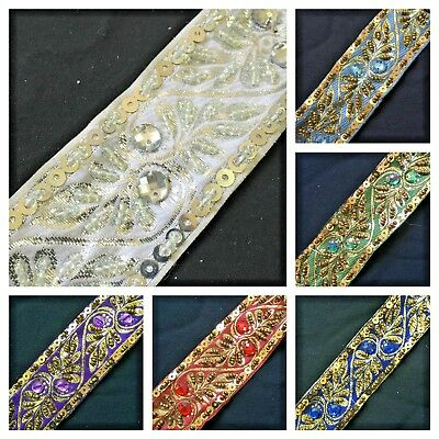 35mm Wide Jacquard Metallic Beaded Ribbon Trim Lace - 1 Metre