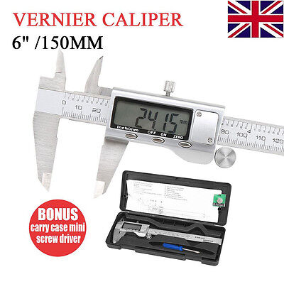 "Stainless Steel Electronic Digital Vernier Caliper Gauge Tool Micrometer 6""150MM"