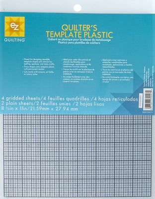 EZ Quilting Template Plastic Sheets Pack of 6