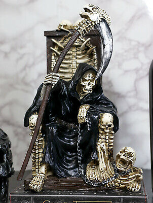Death Angel Grim Reaper on Throne with Undead Skeleton Pet Statue Figurine 11""