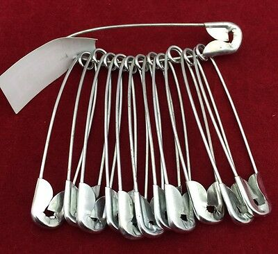 12 Metal Large Size Safety Pin Craft, Sari Pins Just £0.99