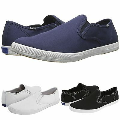 9e160a79969 Mens Keds CHAMPION SLIP ON Canvas Casual Comfort Shoes Black Navy Blue White