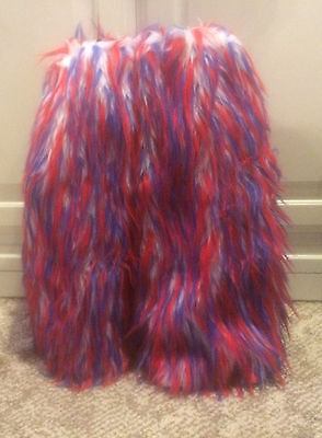 Spiked Furry Leg Warmers Fluffies Rave Dance Patriotic Red White Blue USA