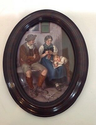 "KPM porcelain plaque. ""Feierabend"" after Defregger. Germany"