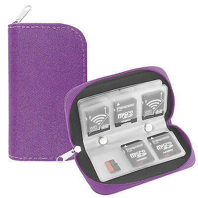 22 Slots Memory Card Carrying Case Holder Pouch for SD SDHC MMC Micro SD- Purple