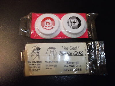 """1 Package (2 Caps) Re-Seal Bottle Caps """"Live Better Electrically"""" NEVER OPENED"""