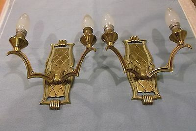 French a pair of superb c.1930 bronze wall light unique elegant style