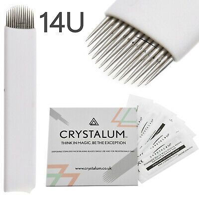 Microblading Blades Needles 14U Shape Makeup Manual Eyebrow Tattoo CRYSTALUM