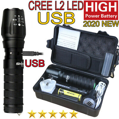 Bright 5000LM T6 Police Tactical Flashlight Zoom LED Adjustable Torch Lamp UK027