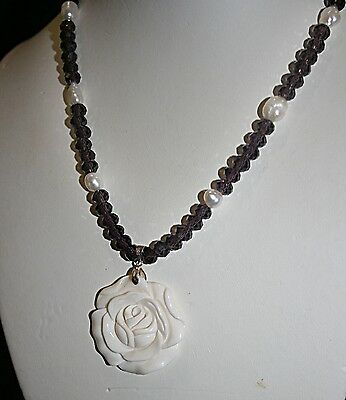 """Hand Carved White Bone ROSE Necklace Sherry Shipley 16"""" #sd428"""