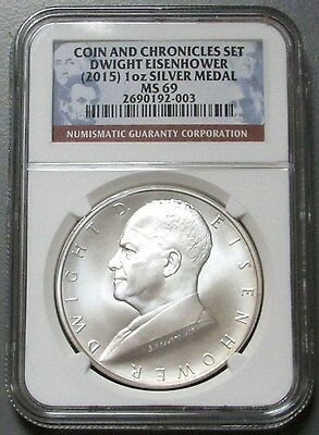 2015 Silver Eisenhower $1 Coin Ngc Mint State 69