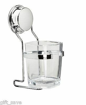 Croydex Glass Tumbler And Holder Clear Chrome Plated Stick N Lock Easy Fit New