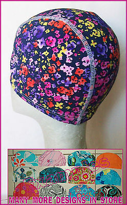 Adults LYCRA SWIMMING CAP - COLOURFUL FLORAL Design Gorgeous Swim Hat ADULT  NEW