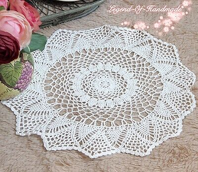 "Victorian White Hand Crochet Lace Doily/Centerpiece~15"" Round~Wedding/Tea Party~"