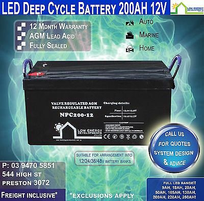 200AH Amp Hour 12V Battery AGM Deep Cycle 12V FREE FREIGHT