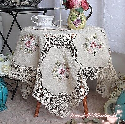 Beautiful Hand Crochet Lace Ribbon Floral Tablecloth~Beige~Sweet Cottage Dream