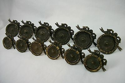 12 Matching Antique Keeler Brass Co Drawer Pulls Heavy Victorian Handles VTG Old