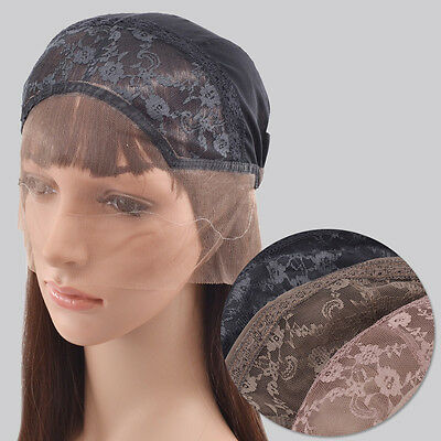 3 Colors Eembroideried Lace Hair Wig Cap Women Hair Snood Net Adjustable Strap