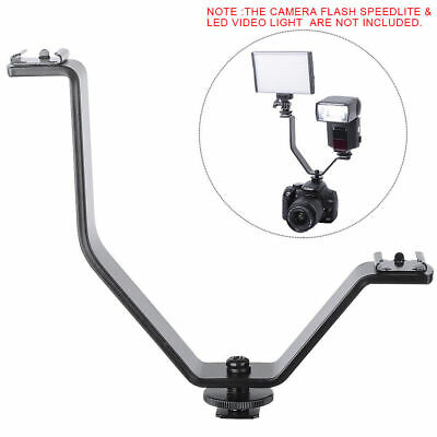 V shape Triple Mount Hot Shoe Flash Bracket for Speedlite Camera Microphone LED