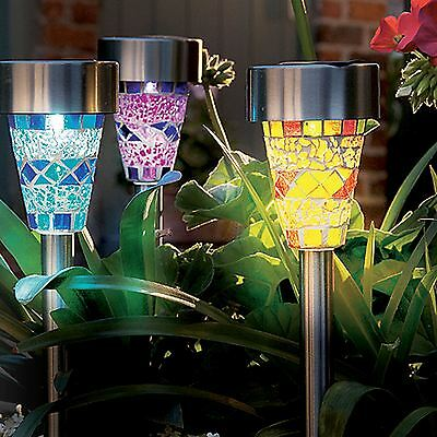 6 x Solar Powered Stainless Steel Outdoor Garden Border Mosaic Stake Lights New