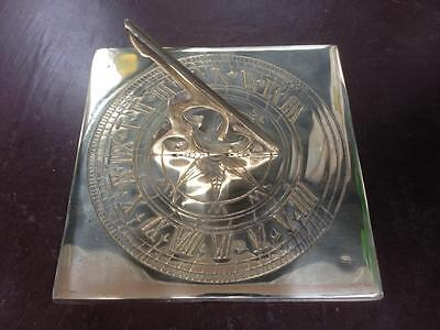 Square Solid Brass Handmade Sundial