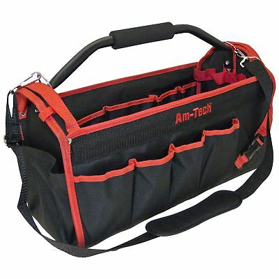 Am-Tech N0545 450mm Tool Caddy Holdall Carry Storage Bag Hard Base Tote