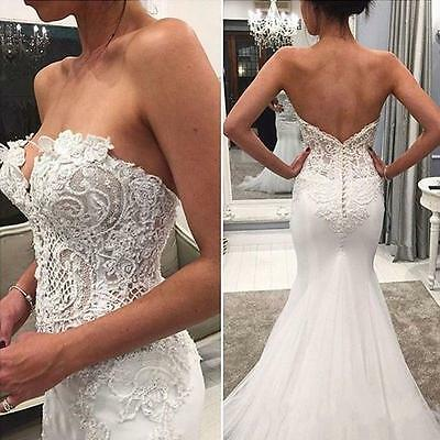 Sexy Sleeveless Mermaid Lace Wedding Dress Sexy Bridal Gown Proms Custom Size
