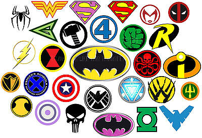 Superhero logo Iron on heat transfer heroes marvel avengers lot SHL