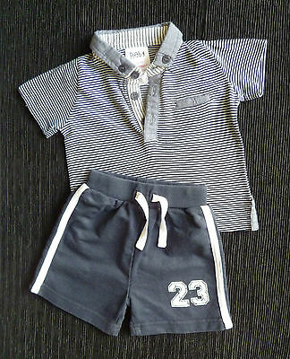 Baby clothes BOY 3-6m outfit navy blue/white collar polo-style top/shorts C SHOP