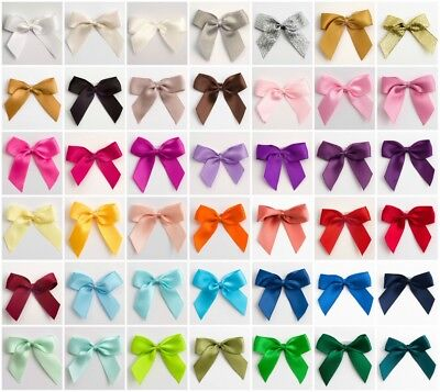 Pack 12 Large Self Adhesive 5cm Wide Satin Pre-Tied Bows 15mm/16mm Ribbon Crafts