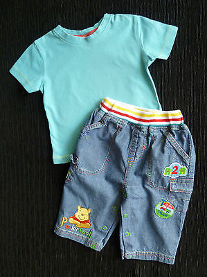 Baby clothes BOY 3-6m outfit Disney/NEXT Pooh Bear denim look trousers/t-shirt
