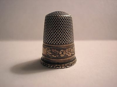 Antique Victorian Ornate Silver Thimble with Lattice Work Floral Motif Sterling?