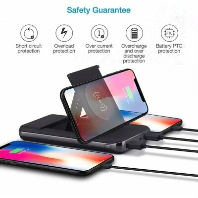 500000mAh Qi Wireless Charger Foldable Bracket Portable Battery Power Bank