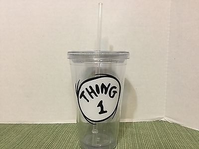 EUC Universal Islands of Adventure Dr. Seuss Thing 1 Tumbler Cup with Lid Straw