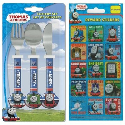 Thomas Race Friends Children's Cutlery Set + Rewards Stickers Age 3 - 4