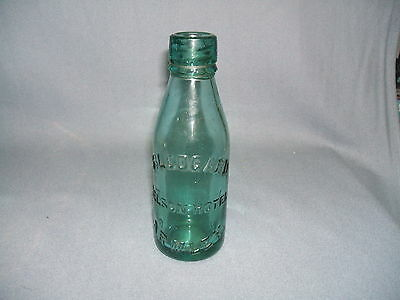 "Vintage S.Ledgard Nelson Hotel Armley Thick Green Glass Bottle 7"" Tall"