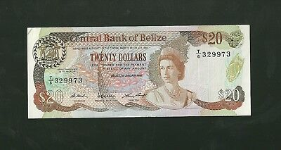 1987 Central bank of Belize 20 dollar currency note paper money twenty 49b