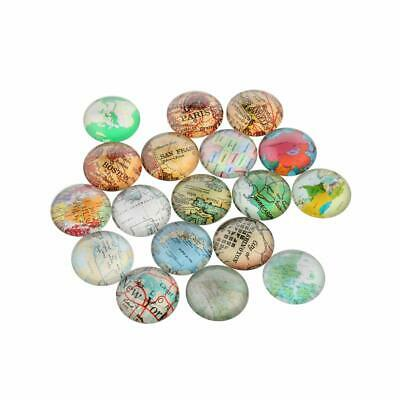 10pcs Mixed Map Printed Dome Glass Cabochons Flat Round Mixed Color 25x7mm Gifts