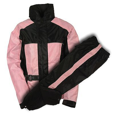 Ladies Black & Pink Deluxe Rain Suit For Motorcycle Riders w/ Reflective Piping