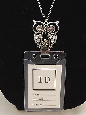 New Long Fancy Silver Owl ID Badge Holder Necklace Lanyard #N1089