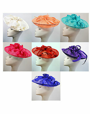 Floral Flower Feather Fascinator Sinamay Flat Big Hat Shaped Wedding Race Ascot