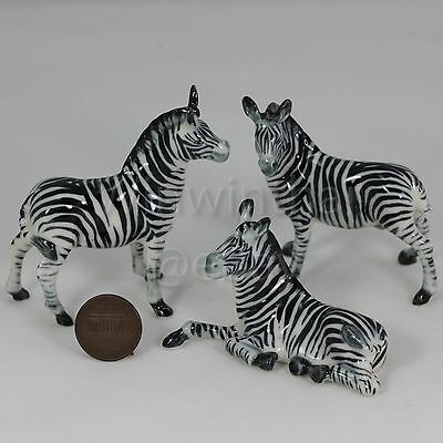 3 Zebra Set Pottery Statue Wild Animal Miniature Ceramic Figurine