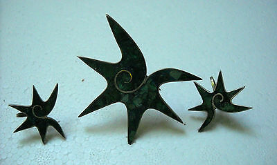 """Modernist Sterling&Turquoise Inlay Starfish Brooch&Earrings, signed """"BETO"""""""