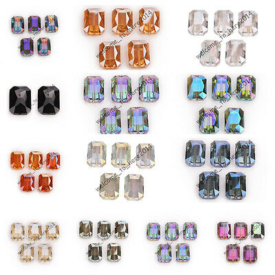 Wholesale Square Faceted Crystal Glass Charms Beads Spacer Findings 18x12mm