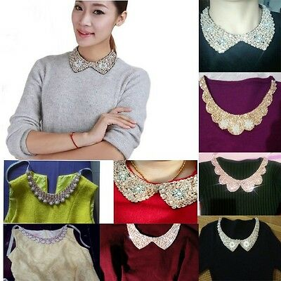 Women Fashion Pearl Beads Sequins Fake Collar Necklace Choker Party Handmade DIY