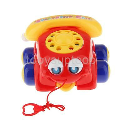 New Red Pull Along Telephone Car with Moving Eyes and Ringing Sound Baby Toy