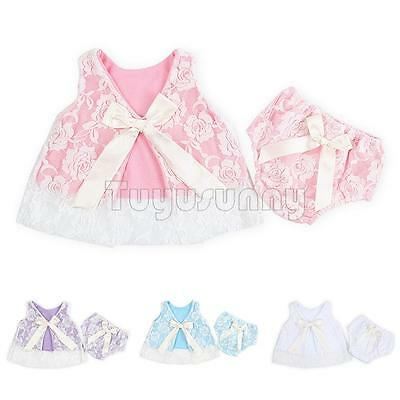 2pcs Girls Baby Infant Flower Lace Tops +Pants Outfit Bloomer Dress Set Clothing