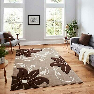 Modern Large Beige Brown  High Quality Thick 12Mm  Polypropylene Flower Rugs