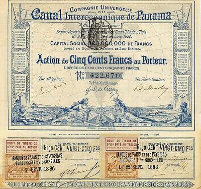 RARE ORIG 1886 PANAMA CANAL BOND! LESSEP SIG/WORLD MAP/NATIVES/COUPONS Xlnt Cond